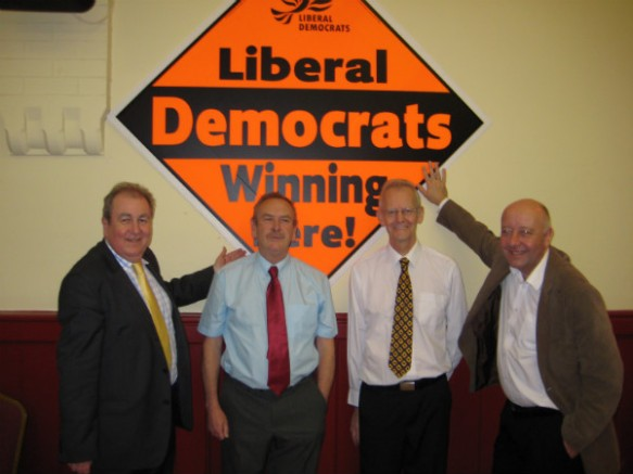 Left to Right: Adrian Sanders MP, Paul Raybould; Eric Abercrombie and Leader of the Liberal Democrat Group on Torbay Council Councillor Steve Darling